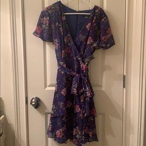 NWT Tahari purple floral ruffle dress